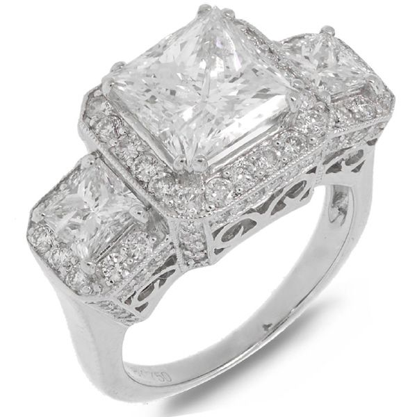 3.06ct Princess Cut Center and 1.70ct Side 18k White Gold EGL Certified Diamond Engagment Ring