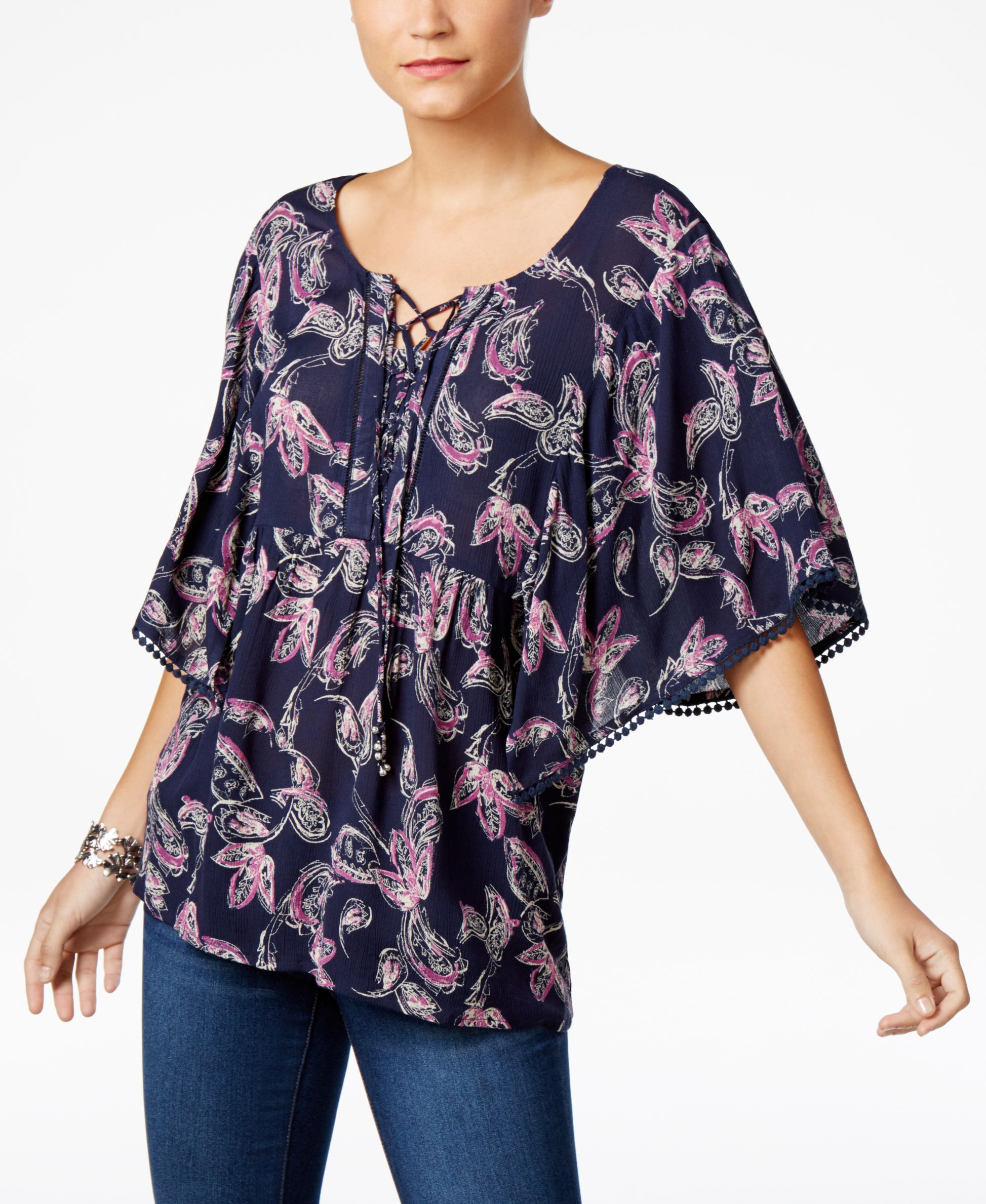 Style & Co Paisley-Print Lace-Up Top, Only at Macy\'s | Products ...