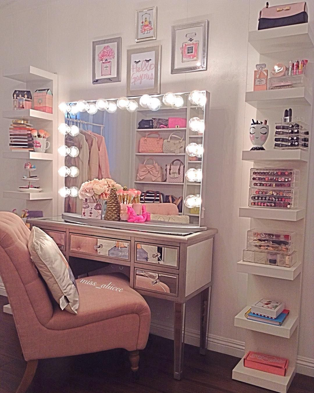 Vanity Bedroom Makeup Dressing Table Room Decor Glam Room