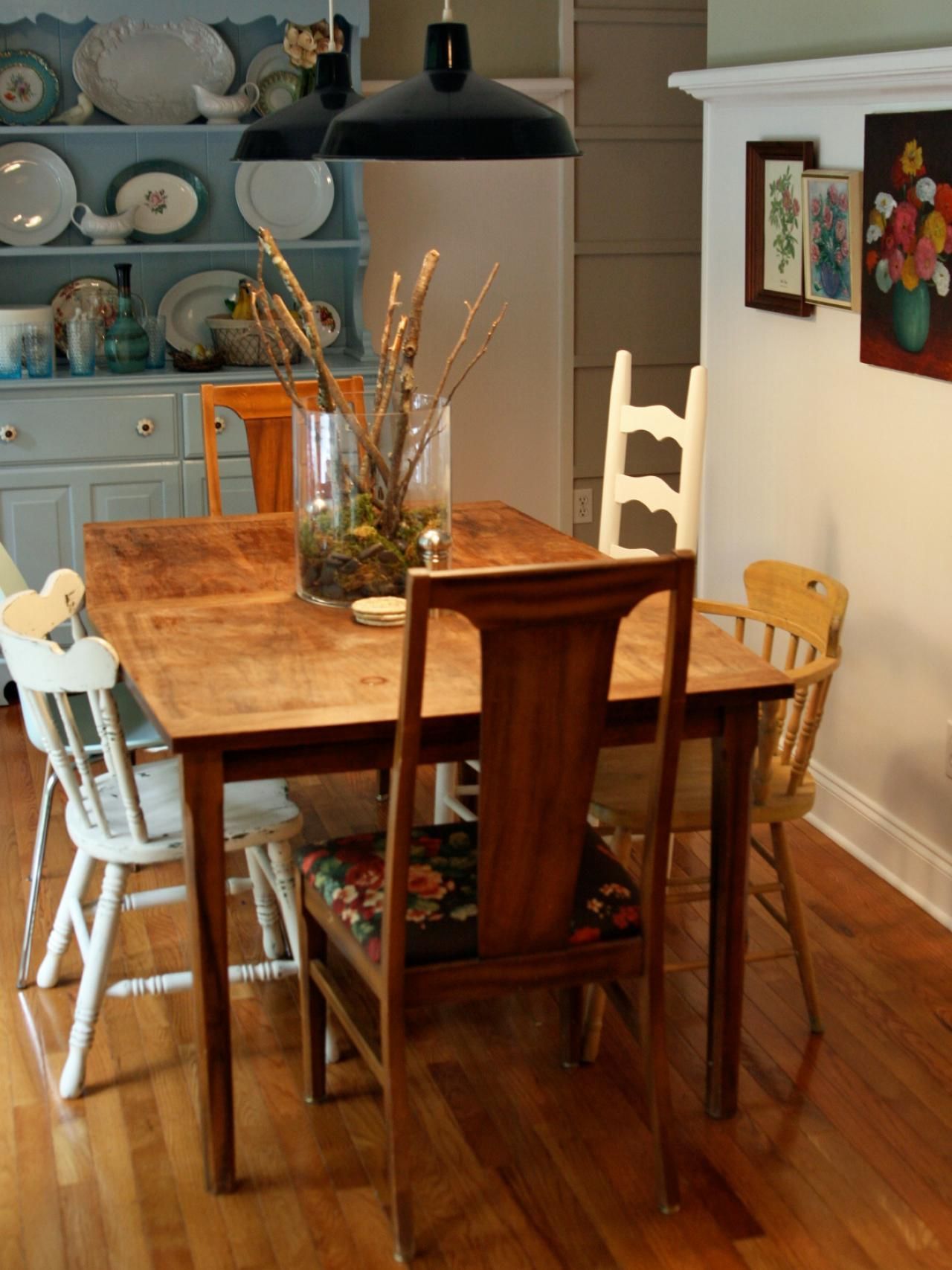 Cottage Style Dining Room Table With Vintage Blue Hutch