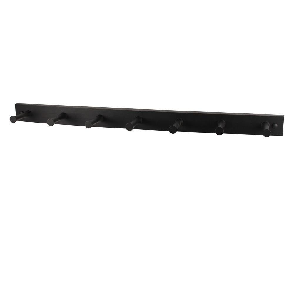 Spectrum 24 in. L Decorative Black 7-Peg Wall Mount Wood Rack ...