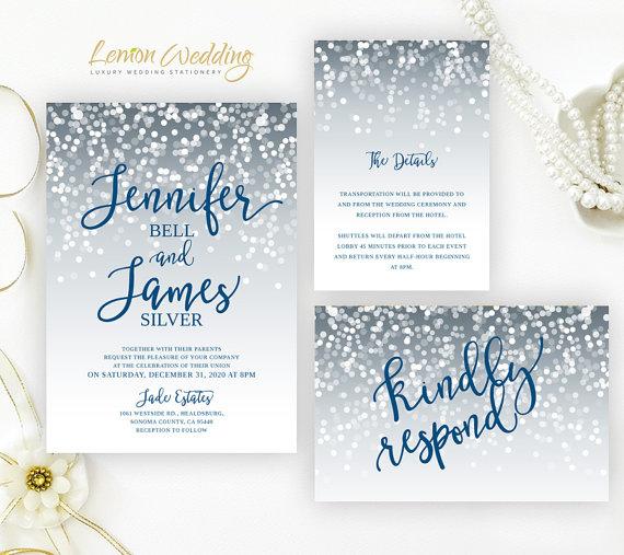 Printed Grey And Navy Wedding Invitations Sets Elegant