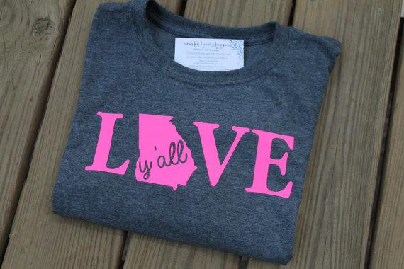 State Shirt, Love, Georgia, Y'all, Southern Shirt, GA, Women's Shirt