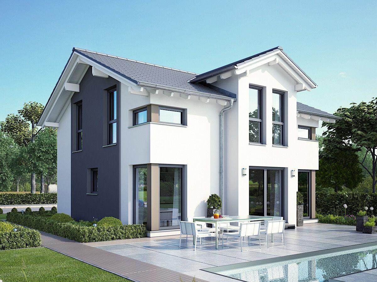 Stadtvilla modern mit Walmdach & Putz Fassade weiß