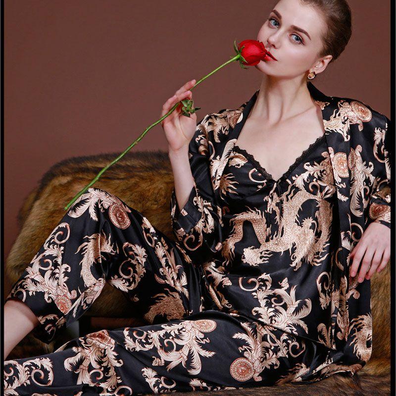 Free Shipping  Buy Best Three-piece pajamas set Ladie Imitate Silk ... e89ca50b2