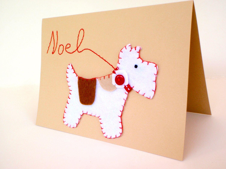 Christmas Felt Scottish Dog Card 1100 Via Etsy Cosas Que