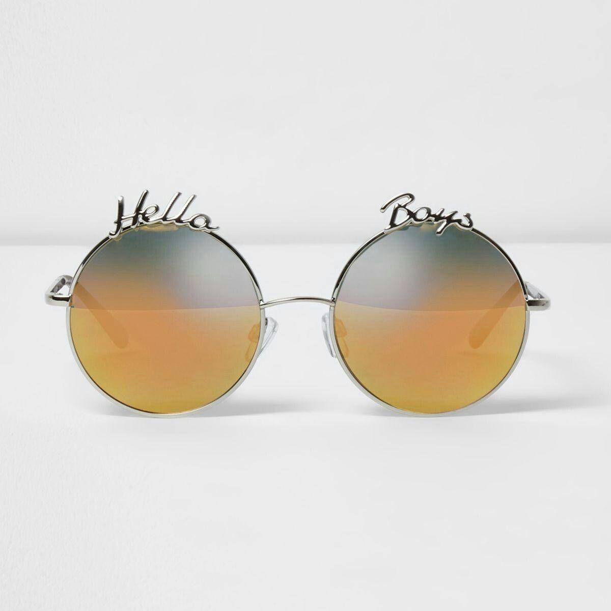 20952a2e7c Silver tone 'hello boys' round sunglasses   Fashion collection ...