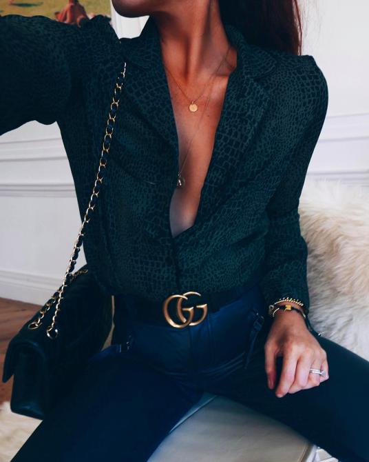 Prints + gucci belt + denim   my style   Pinterest   Smart casual Gucci and Prints