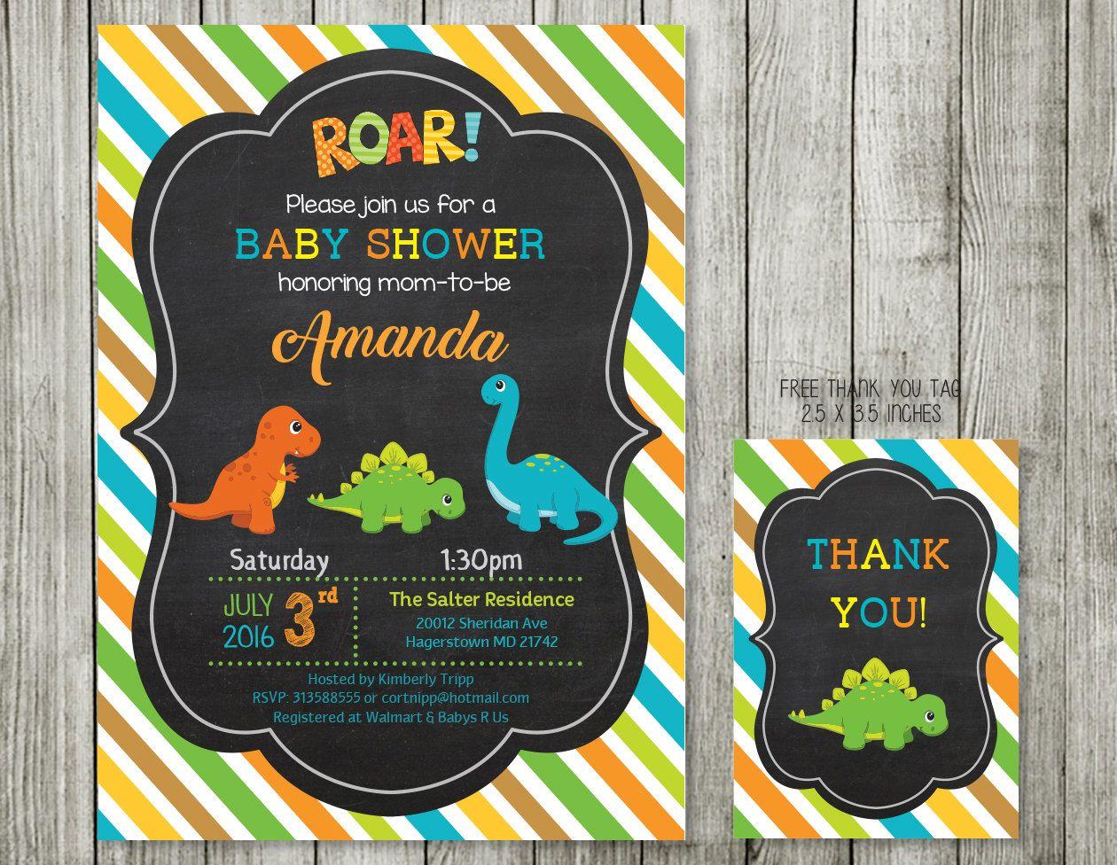 baby shower invitation - Dinosaur baby shower invitation printable ...