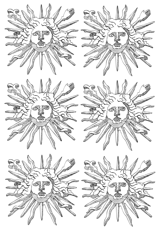 L Embleme De Louis Xiv Le Roi Soleil 6 Motifs Repetes A Partir De La Galerie Rois Et Reines Roi Soleil Coloriage Embleme