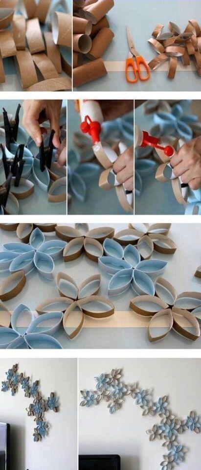 Wie man aus alten Toilettenpapier-Rollen eine tolle Wanddekoration basteln kann…