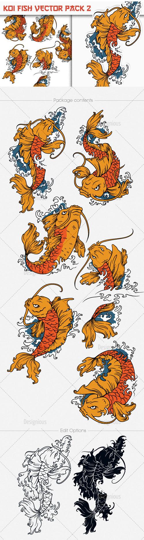Shirt design vector pack - Koi Fish Photoshop Vector Pack 2