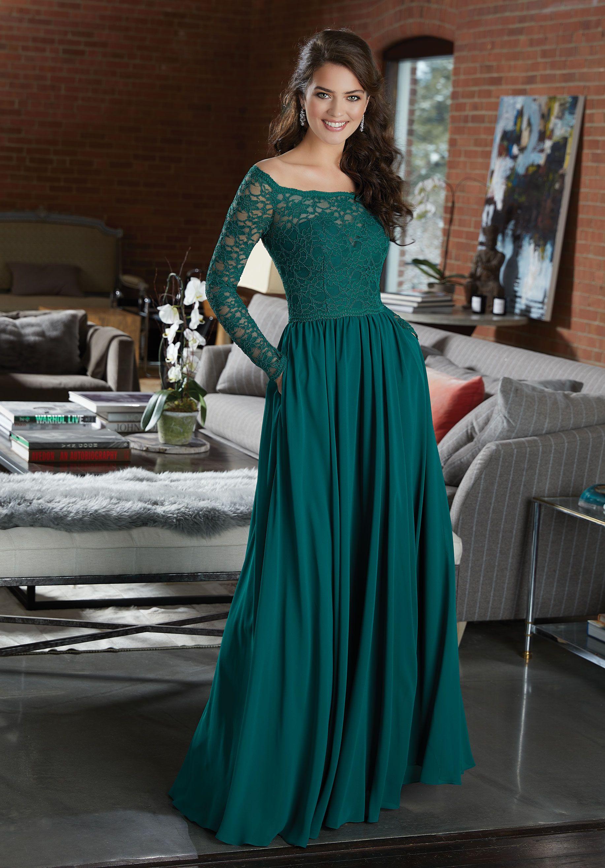 Long sleeve lace and chiffon bridesmaid dress i do pinterest