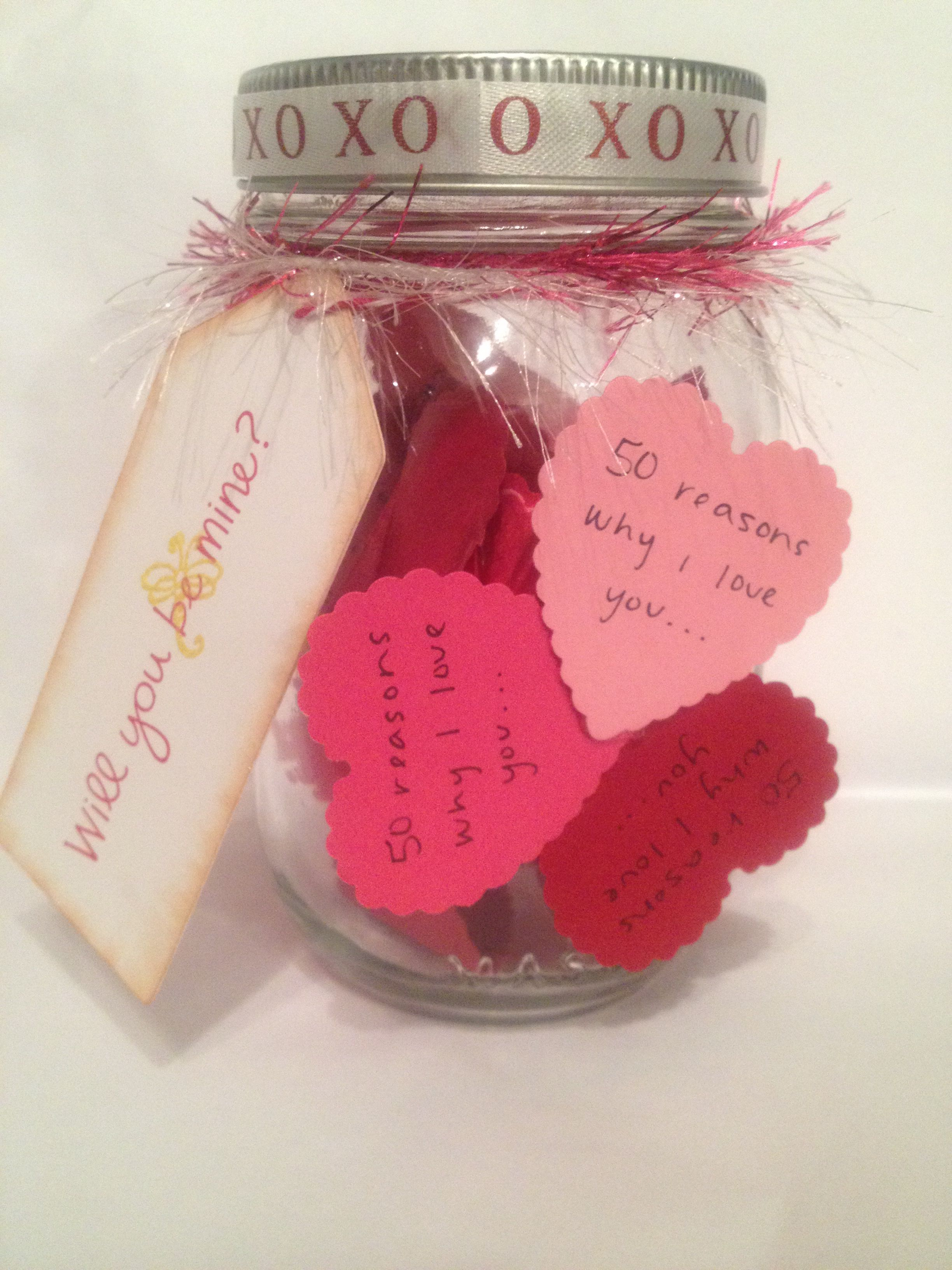 Valentine's Day Gift on a budge - 50 reasons why I love you in a jar for him or her