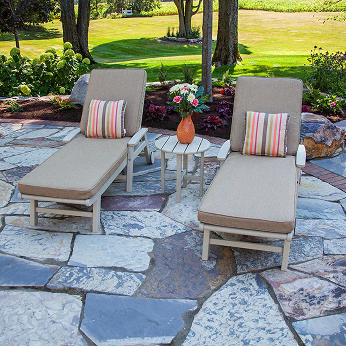 Patio Garden Chaise Lounge Set By Ivy Terrace Tan Brown
