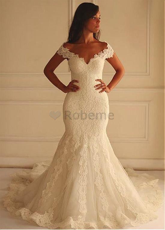 02b1185db56d1d Robe de mariée sirene traine appliques naturel epaule écrite avec ...