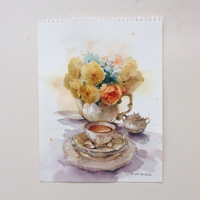 Tea time with yellow roses... #watercolor #art #artist #paint #painting #floral #flowers #rose #tea #roses #romance #afternoon