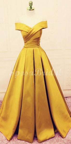 A-line Yellow Gold Satin Off the Shoulder Long Modest Prom Dresses PD1408 #modestprom