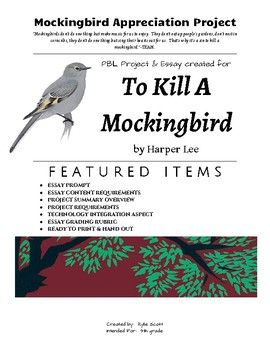Mockingbird Appreciation Pbl Project For Harper Lee S To Kill A Mockingbird Special Education Lesson Plans To Kill A Mockingbird Special Education Behavior