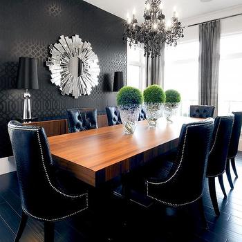 Metallic Wallpaper Contemporary Dining Room Stylish Dining