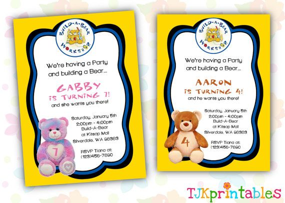 Build A Bear Birthday Invitation by TJKprintablesInc on Etsy 1200