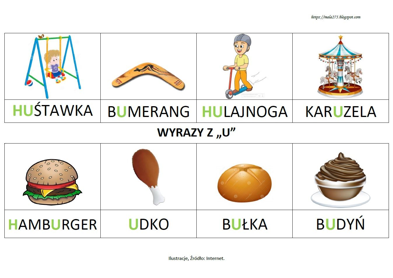 Blog Edukacyjny Dla Dzieci Wyrazy Z U Polish Language Flashcards Language