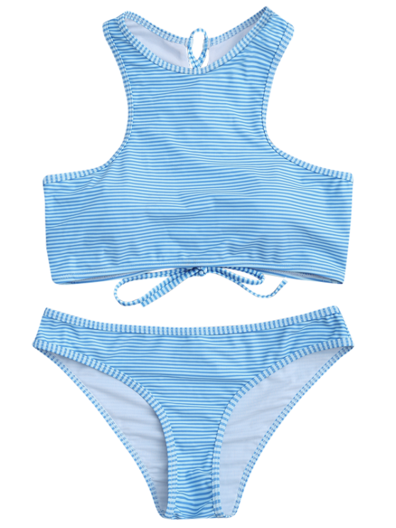 High Neck Stripe Lace Up Bikini Light Blue Bikinis Bikini Azul