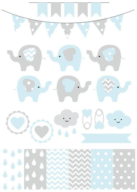 Premium baby shower vector clipart - Baby elephants - blue ...