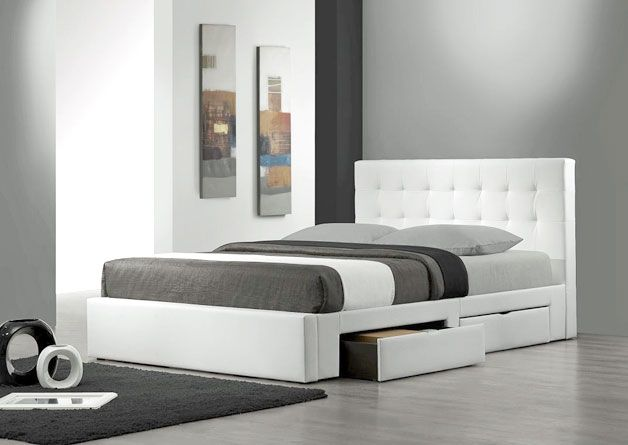 Storage Beds White Leather Bed Platform Bed With Drawers Low Bed Frame