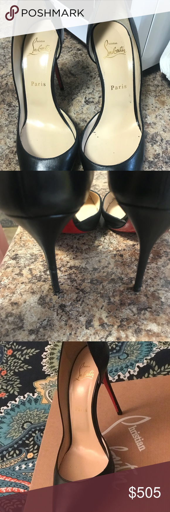 f9750c92f84 Authentic Christian louboutin Iriza 100 black Authentic Christian louboutin  Iriza 100 black (lightly used). red sole has protection done at the leather  spa) ...