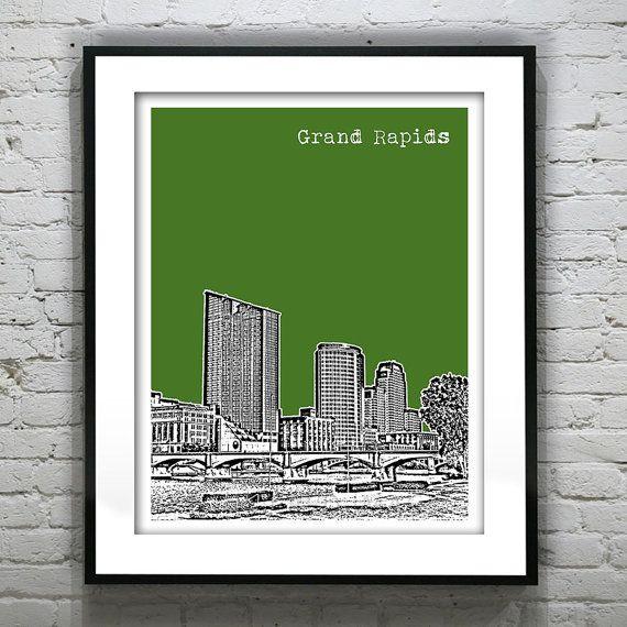 Grand Rapids Michigan Skyline Poster City Art Print
