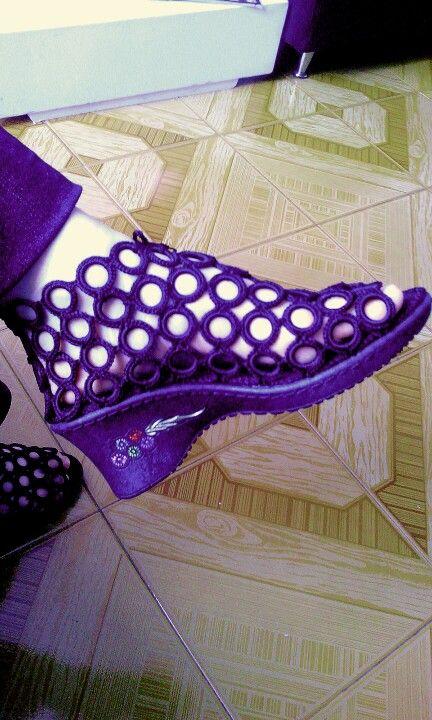 Sandalia Lucía tipo botín en aros tejido a crochet color negro ...