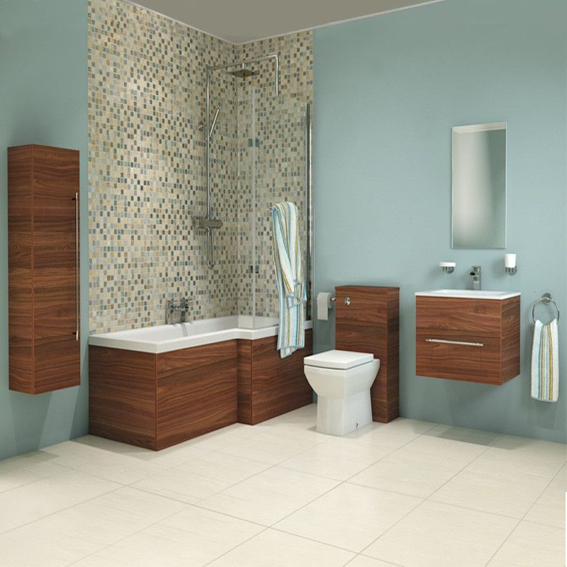 Aspen Walnut Right Hand L Shaped Shower Bath Complete Bathroom Suite ...