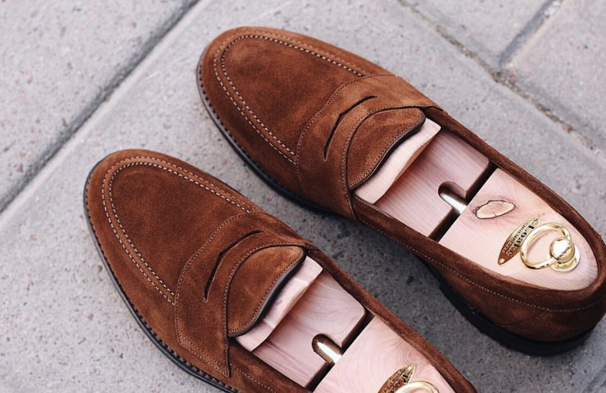 007a1d7e34c The Loake Eton brown suede loafer is a summer essential