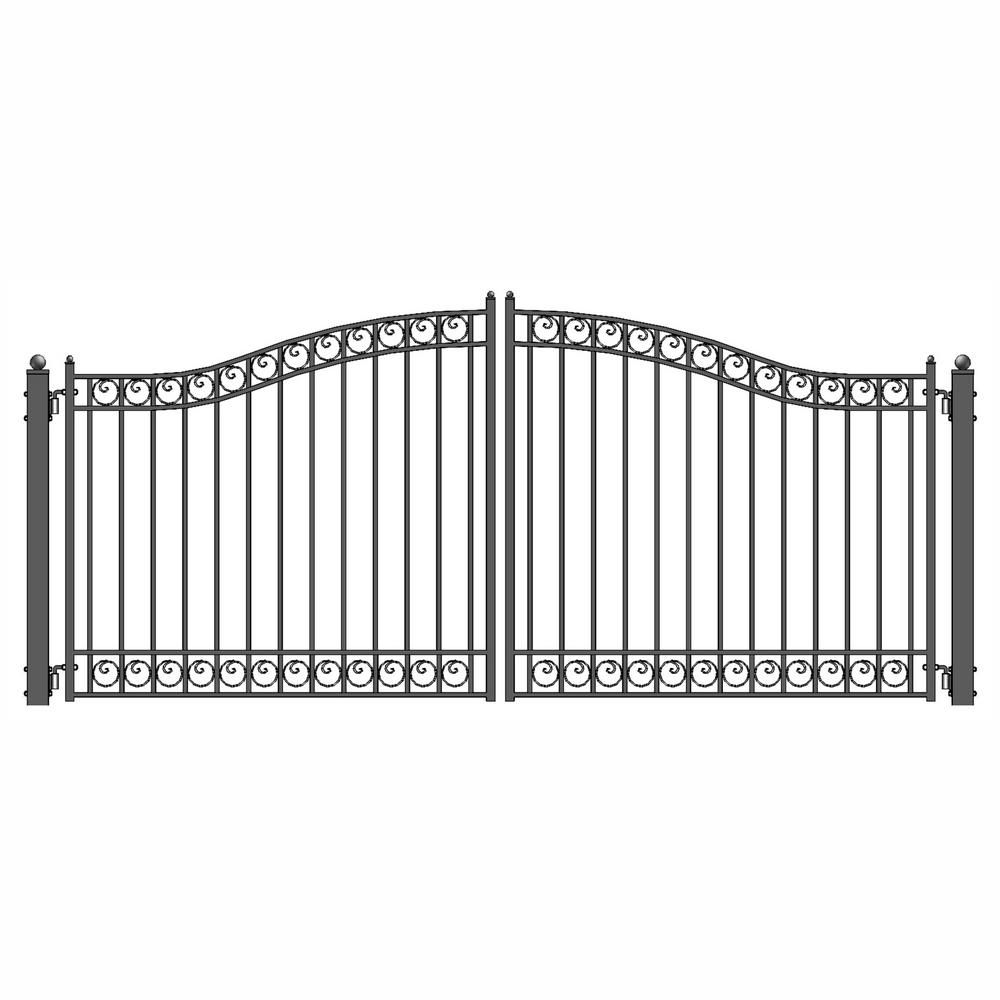 Aleko Dublin Style 12 Ft X 6 Ft Black Steel Dual Swing Driveway Fence Gate Dg12dubd Hd Iron Gates Steel Gate Iron Gate Design