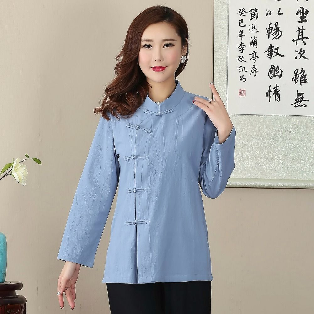 7a63b5a809a Novelty Design Button Blouse Chinese Women s Cotton Linen Shirt Loose  Casual Full Sleeve Tang Suit Tops M L XL XXL XXXL 2703-1  Blouse designs