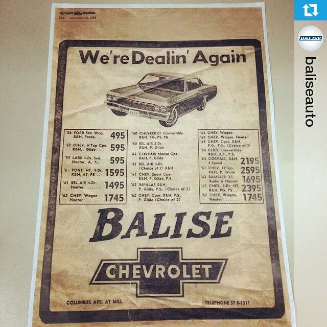 Balise Chevy Ad From November 1964 In The Springfield Republican