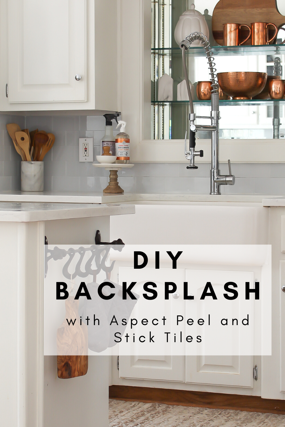 Diy Backsplash With Aspect Peel And Stick Tiles Savvy Apron In 2020 Diy Backsplash Stick On Tiles Peel And Stick Tile
