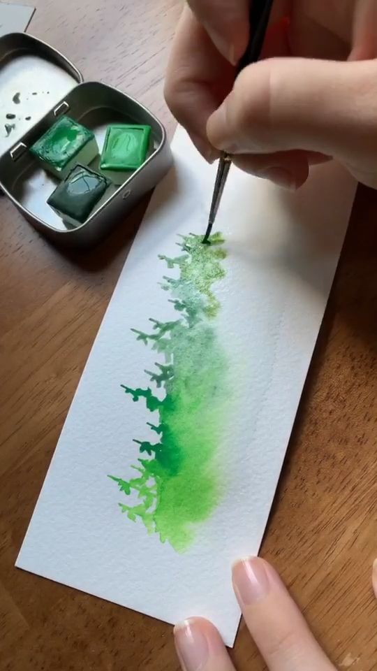 Green watercolor misty forest