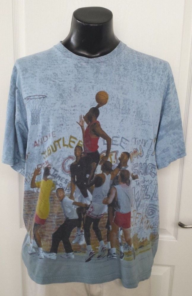 07610375cd88 NIKE MICHAEL AIR JORDAN IV 4 PLAYGROUND T-SHIRT LARGE CEMENT BLUE RETRO  RARE!!!!  Nike  GraphicTee