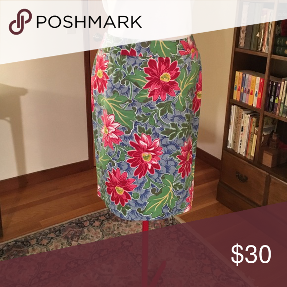 Talbots skirt Great blue skirt with red flowers and green leaves. Cotton. FUN! Smoke free home. Talbots Skirts Pencil