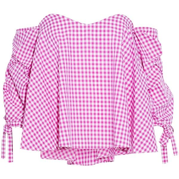 6e8d779e2b9372 Caroline Constas Off-the-shoulder ruched gingham cotton top ( 197) ❤ liked  on Polyvore featuring tops