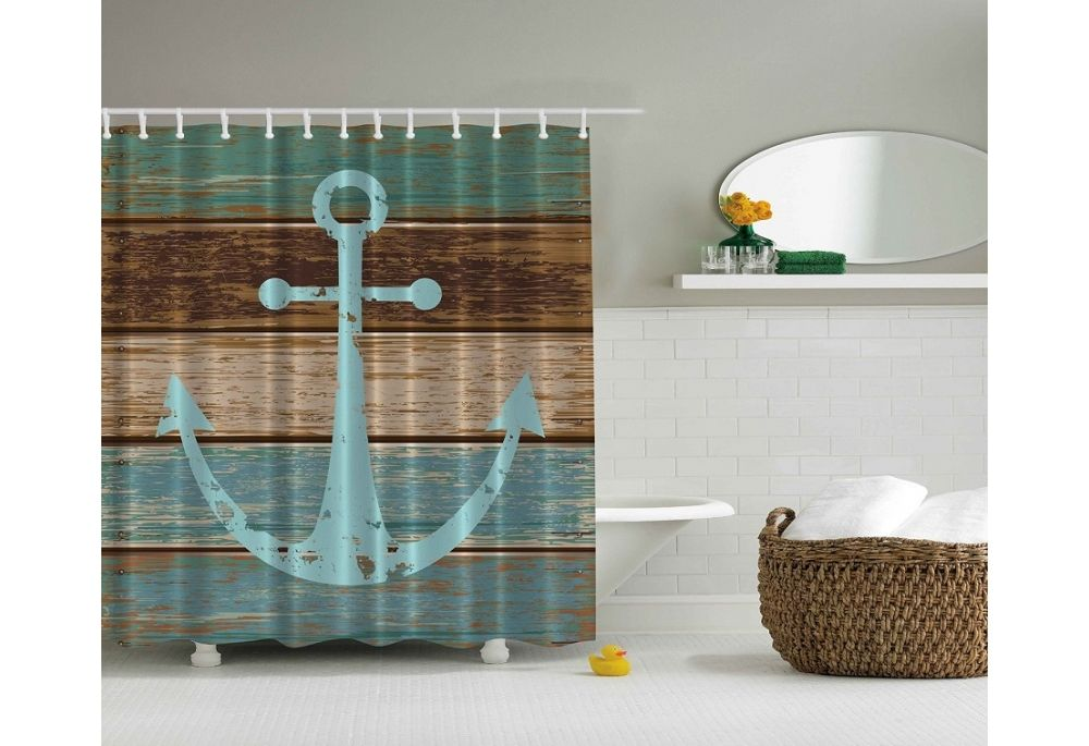Anchor On Rustic Wood Shower Curtain Beach Shower Curtains