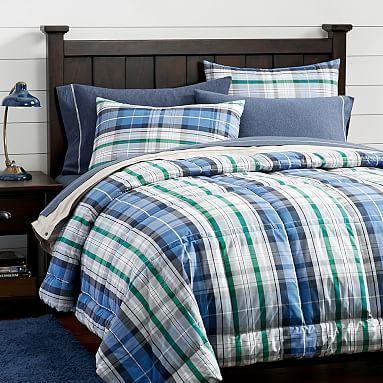 Portsmith Plaid Comforter + Sham, Navy #pbteen...own it :)