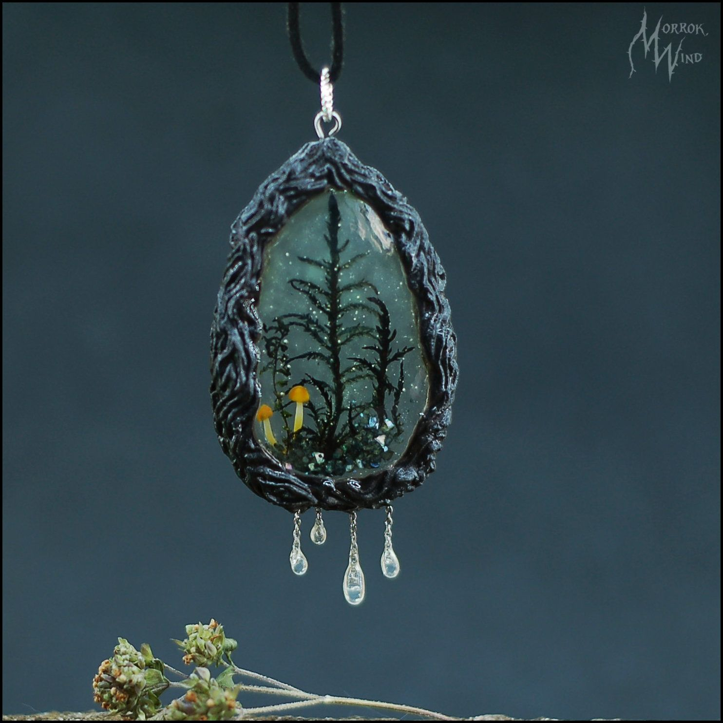 Mysterious Necklace Moss Resin Mushroom Dark Wood Misty