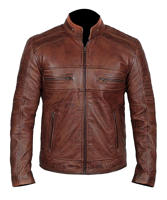 Men Brown Distressed Biker Jacket Leather jacket