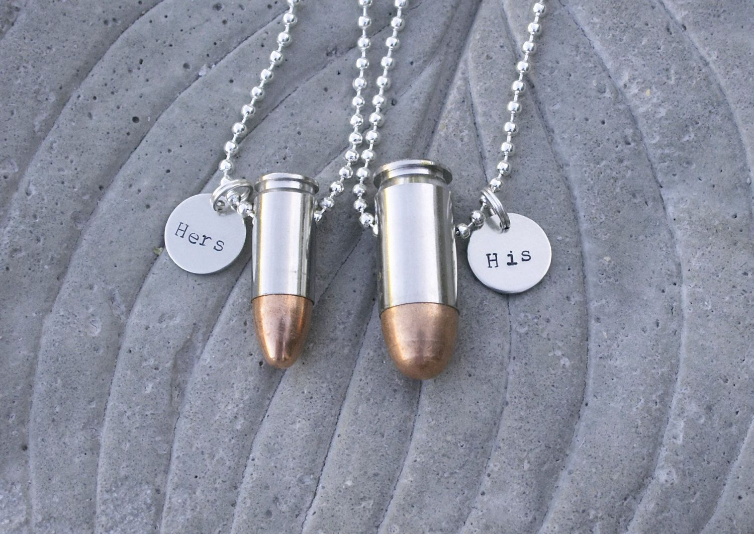 His and Hers Bullet Jewelry Necklaces Customized by BulletsAndWire