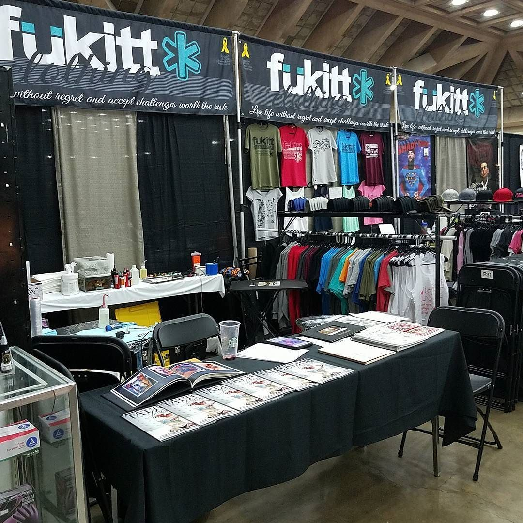 Ready to go at the @villainarts #baltimore #tattooconvention ! We have 4 guest spot artists working with us so come by and get inked up by these #tattooartists who support our brand!  Guest spot artists: @huckedup82 @shady_smith @chris.sanchez_tattoo @jnood  #fukitt #fükitt #inspirational #motivational #clothing #apparel #inspiration #motivation #fitness #skateboarding #surfing #suicideprevention #livelife #takerisks