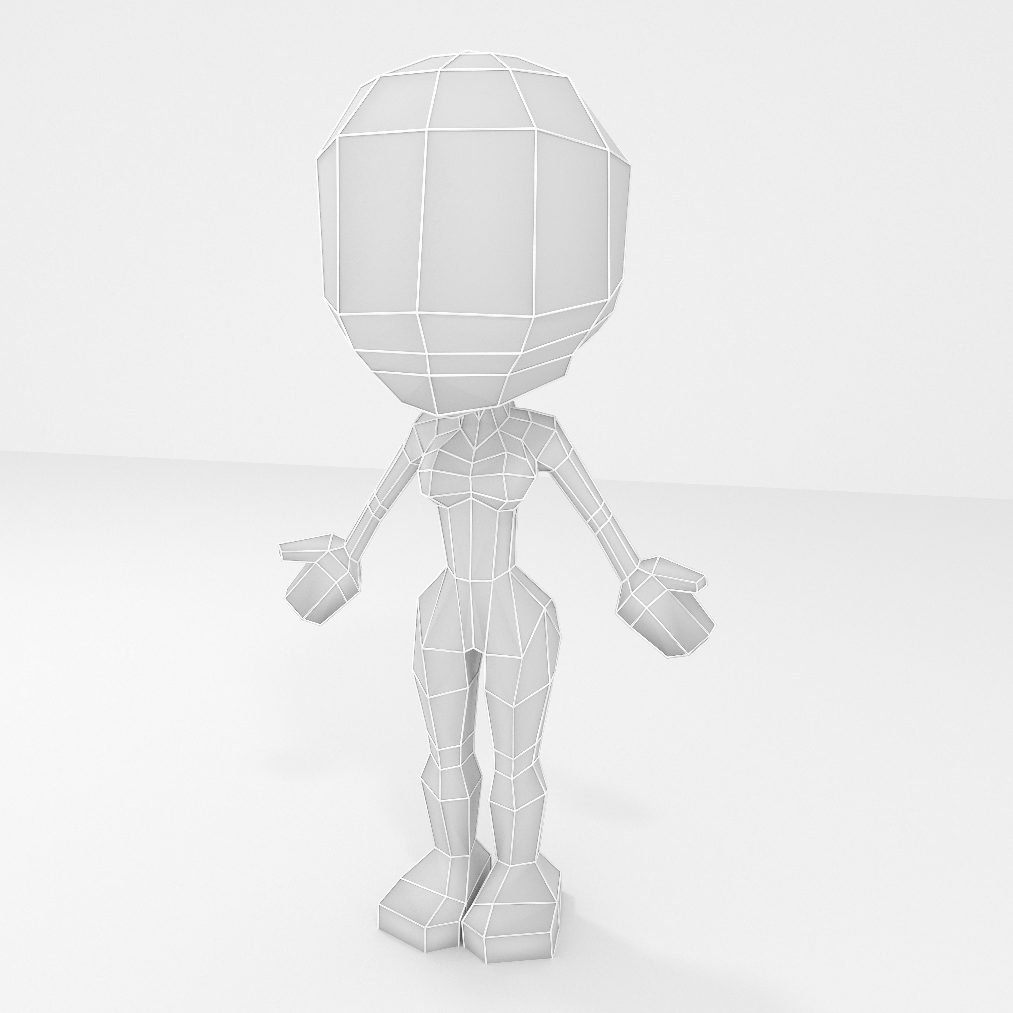 Female cartoon lowpoly character base mesh 3D model