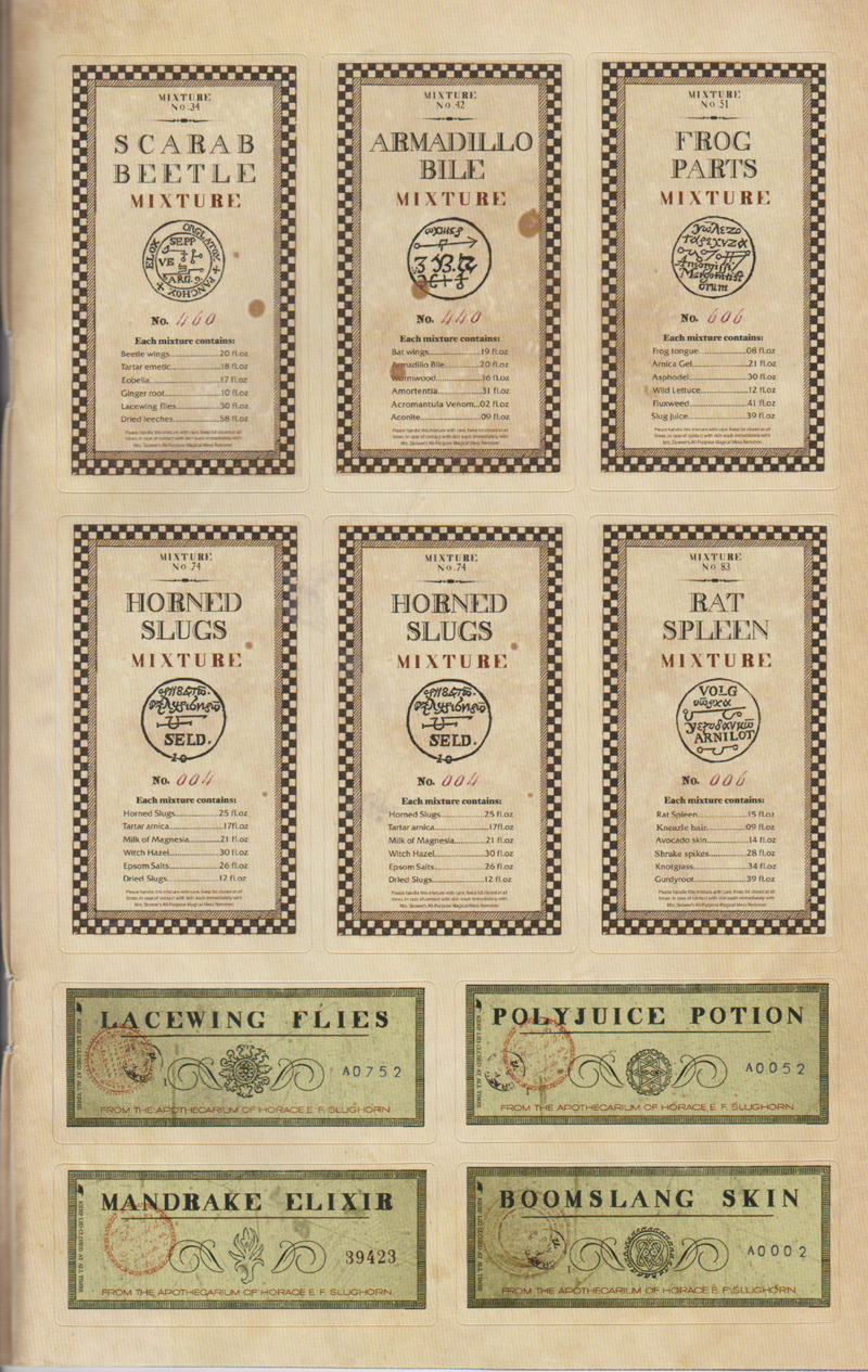 potion ingredients labels (HP Film Wizardry extra)